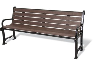 964-BRN6 Charleston Recycled Bench with Back Image
