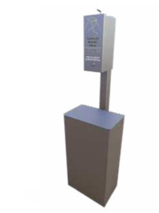 SANT01 - Post Mounted Sanitizer & Receptacle Image