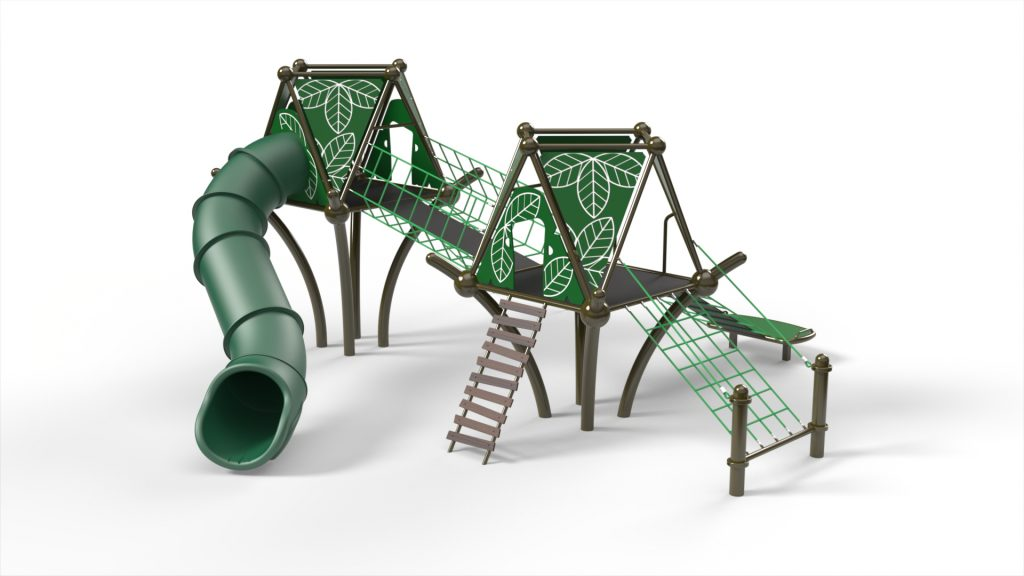 playground company playground equipment rope climber slide treefort steel frame 20 mm rope net leaf accents fun children ages 5-12