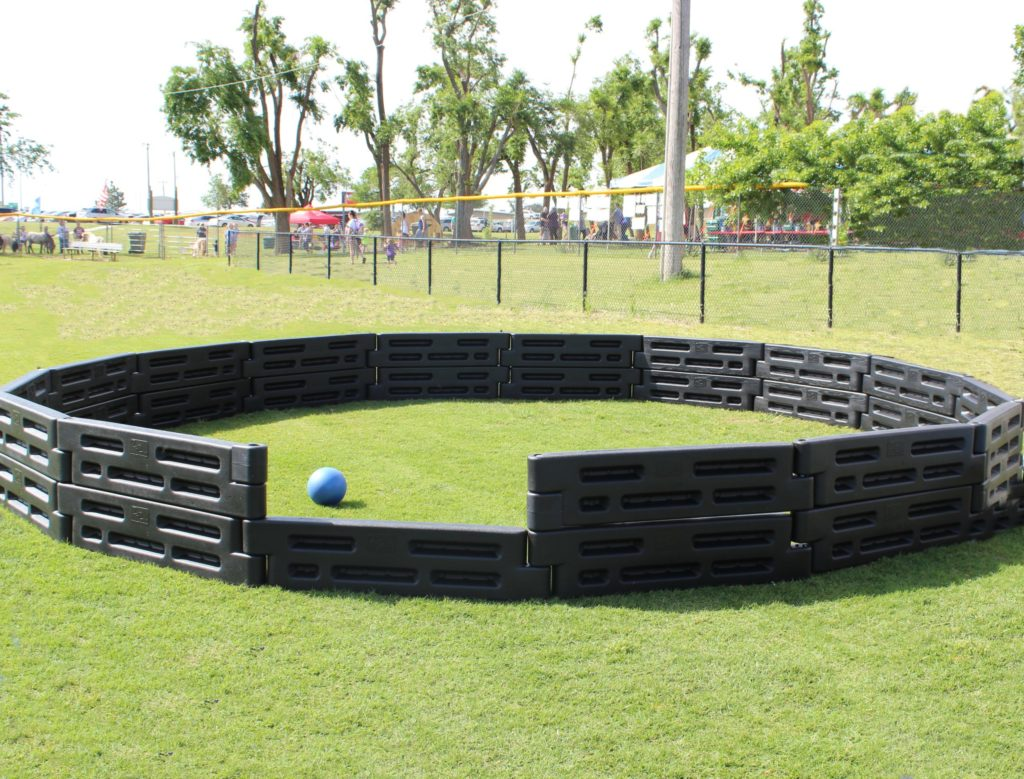 Photo of a large outdoor GaGa Ball Pit. Photo by 2by2 Industries.